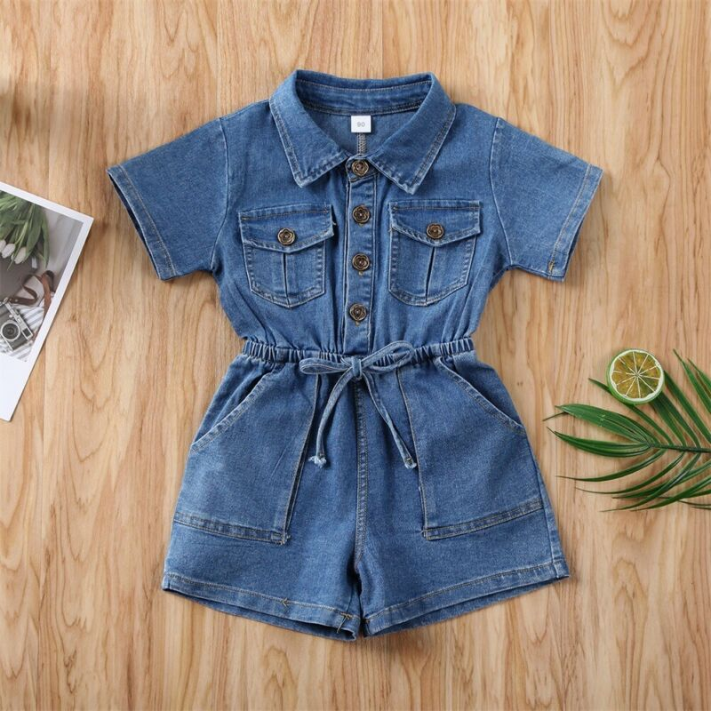 CANIS Toddler Kid Baby Girl Short Sleeve Button Solid Color Jumpsuit Bodysuit Denim Outfit One-Piece