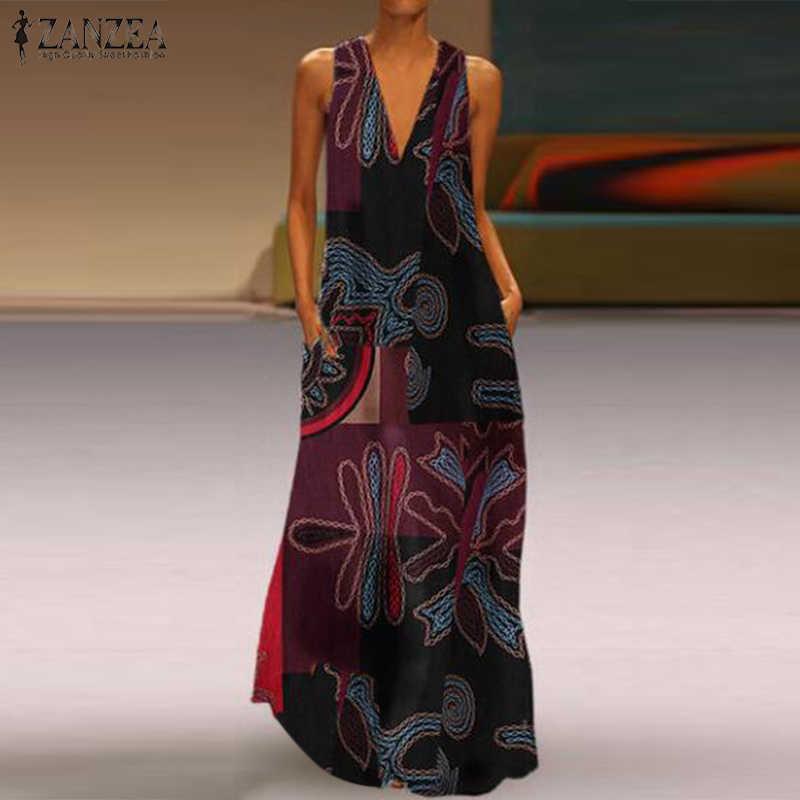 ZANZEA femmes été bohème imprimé fleuri Maxi longue Robe Vintage décontracté coton lin réservoirs Vestido Robe d'été gilet robes