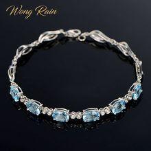 Gold-Bracelet Aquamarine Charm Gemstone Bangle Fine-Jewelry Wedding Rain-Trendy 100%925-Sterling-Silver