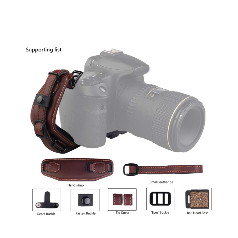 Camera Leather Wrist Strap with Quick Release Plate, Comfort Padding Stability and Security for All DSLR SLR and Digital Cameras image