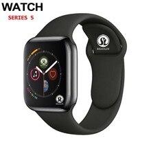 ساعة يد ذكية مزودة بتقنية البلوتوث من سلسلة 4 طراز 50% ساعة ذكية للياقة البدنية للرجال والنساء لهاتف Apple iOS iPhone شاومي وأندرويد (زر أحمر)