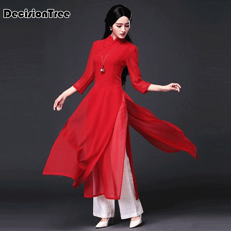2020 aodai cheongsam dress traditional oriental clothing ao dai dresses short lace dress for women vietnam qipao dress