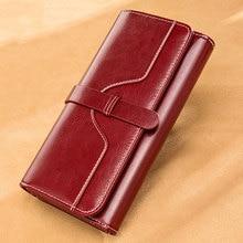 럭셔리 디자인 빈티지 오일 왁스 여성 정품 가죽 지갑 긴 대용량 클러치 지갑 숙녀 가방 세 배 전화 머니 클립