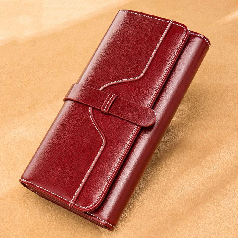 Luxury Design Vintage Oil Wax Women Genuine Leather Wallet Long Large Capacity Clutch Purse Ladies Bag Tri-fold Phone Money Clip