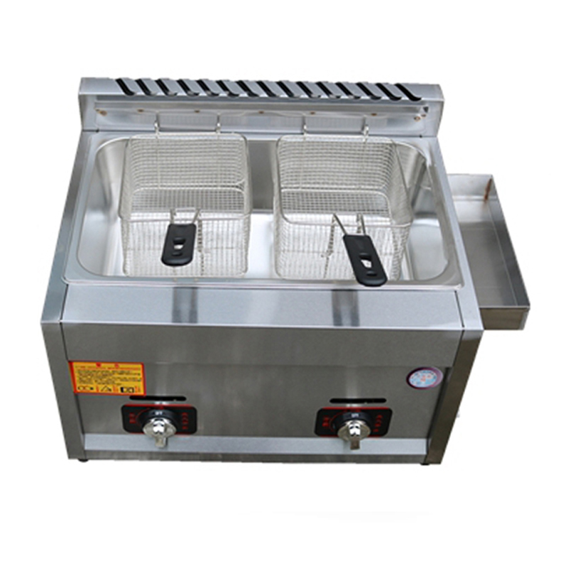 Commercial Gas Fryer Energy-saving Stainless Steel Double-cylinder Gas Frying Pan JX-11 Fries Fried /chicken Frying Machine 1PC