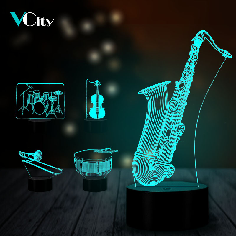VCity Music Instrument 3D USB Lamp Saxophone Violin Drum Home Bedroom Decor 7 Colors Atmosphere Lighting Nighlight Gift For Kids