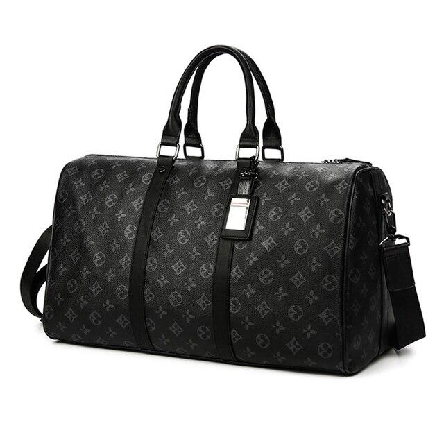 Fashion Travel Bag Men Women Classic PU Leather Luggage Bags Large Capacity Handbags Trip Shoulder Bags Black Plaid Bag Male Hot 3