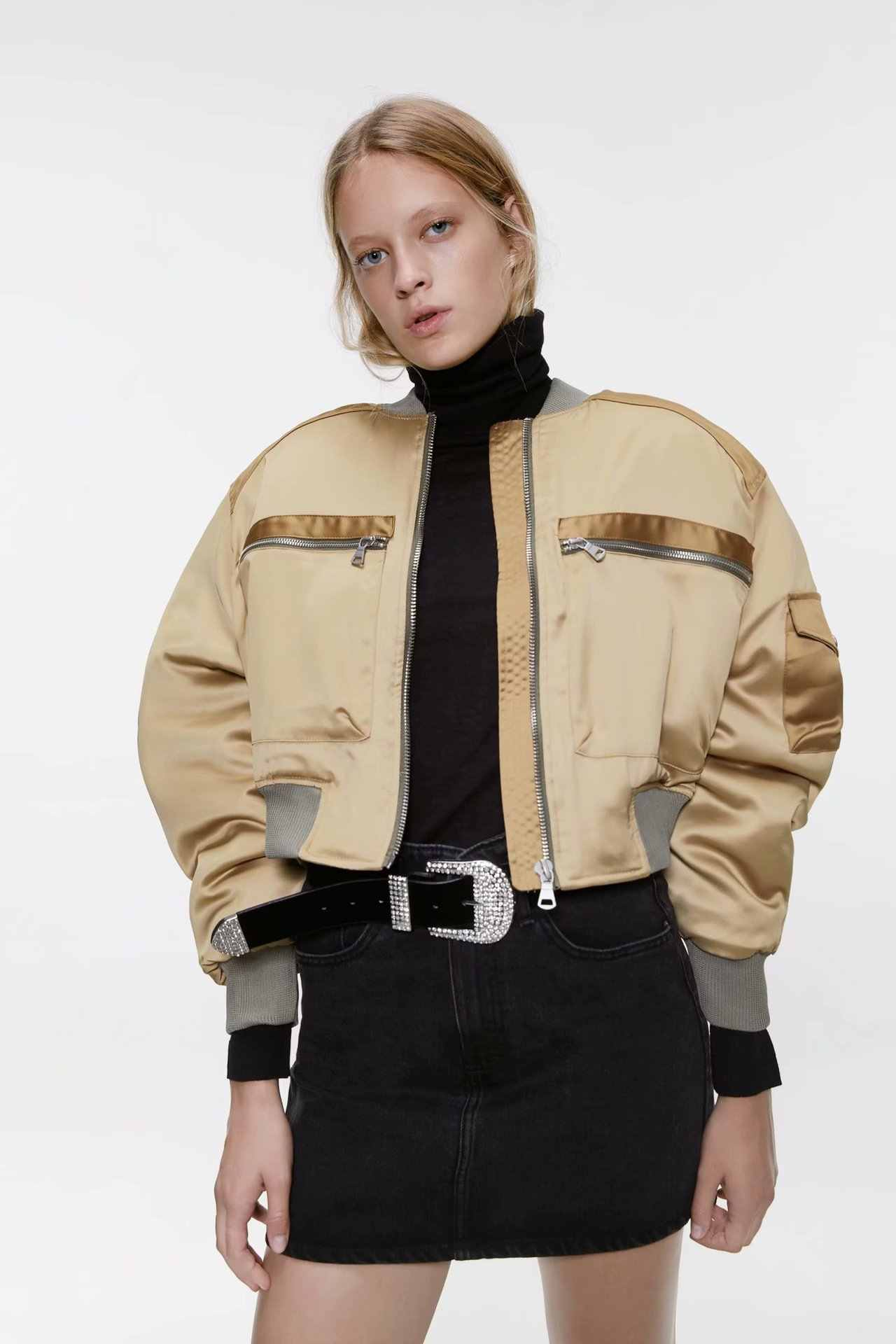 2019 ZA nowo jesień kobiet w stylu Vintage kurtka Bomber luźne Satin Baseball kurtka z długim rękawem ciepły płaszcz w stylu casual Trendy Streetwear