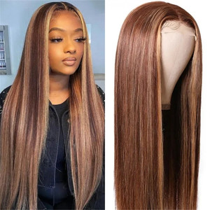 UNice New Fake Scalp Wig Human Hair Hand Tied Lace Hair Part Line Straight Hair Wigs 150% Density Blonde Brown Closure Wig