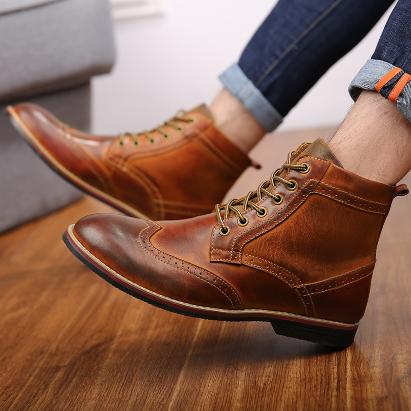 2019 Autumn Genuine Leather Men Boots Big Size 38-47 Vintage Brogue Mens Shoes Casual Fashion Lace-up Warm Boots For Man Brown
