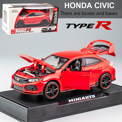 <font><b>1:32</b></font> <font><b>HONDA</b></font> CIVIC TYPE-R <font><b>Diecasts</b></font> Vehicles Metal Car Sound Light pull back Collection Toys Children Christmas Gift doors open image