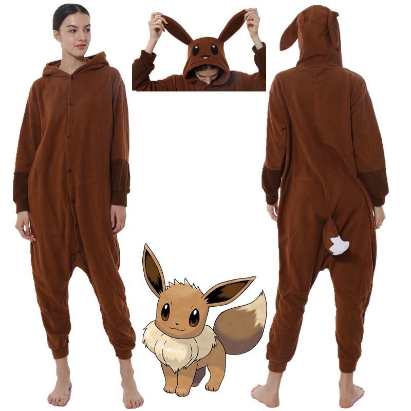 Pokemon Eevee Unisex Adult Kigurumi Pajamas Animal Cosplay Sleepwear Onesies title=