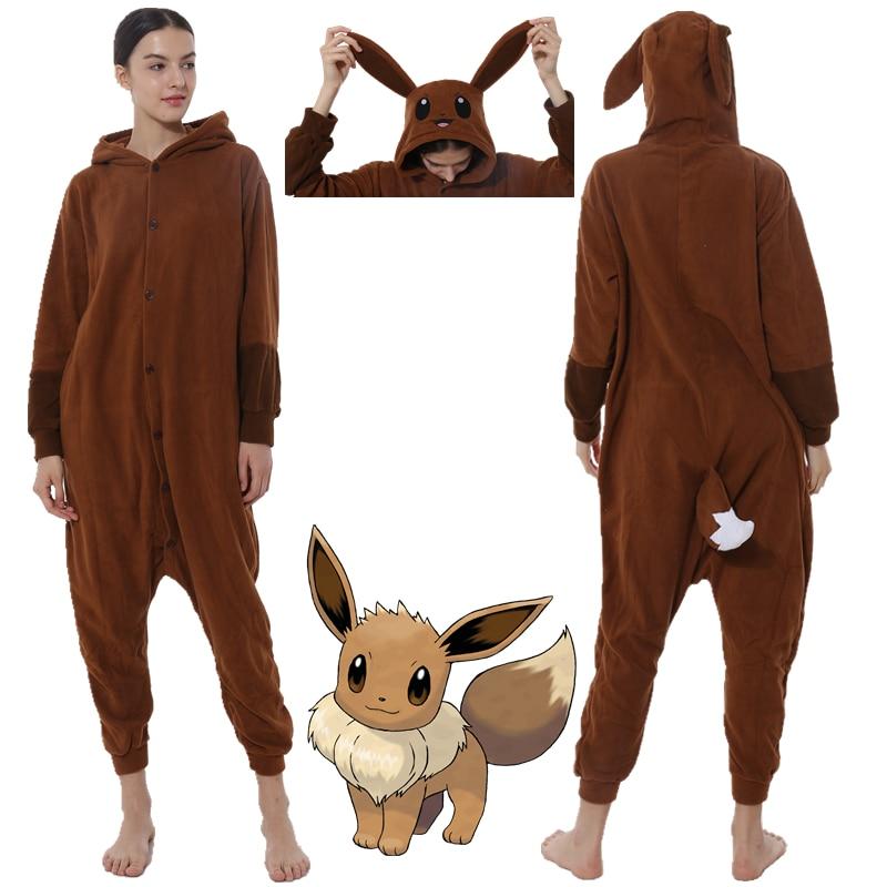 Pokemon Eevee Unisex Adult Kigurumi Pajamas Animal Cosplay Sleepwear Onesies