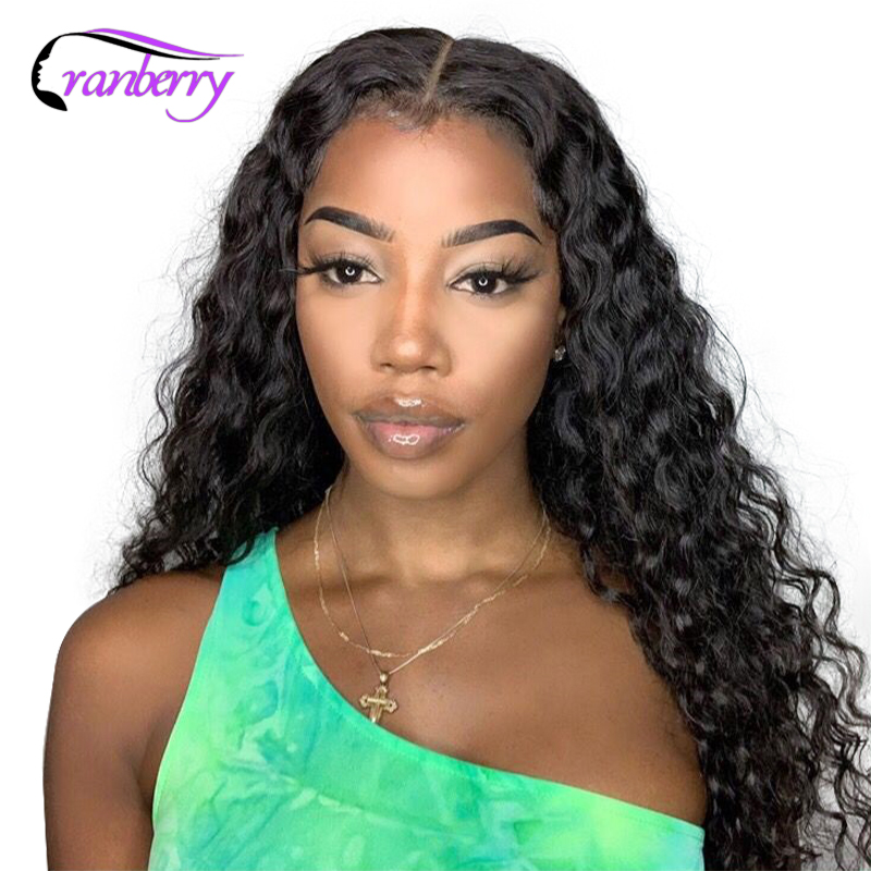 Cranberry Hair 13x4 Lace Front Wigs Brazilian Hair Deep Wave Wig Remy Hair Lace Front Human