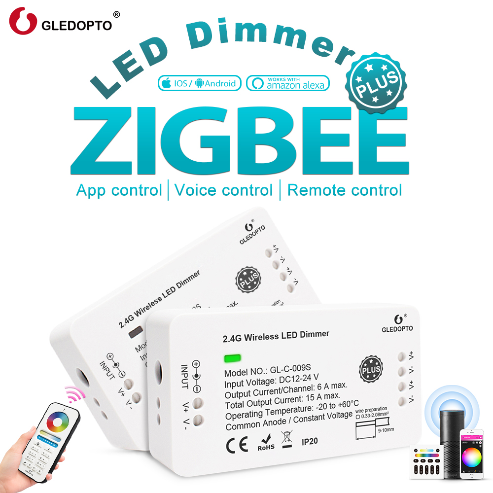 Gledopto Smart Zigbee LED Dimmer Strip Controller, Brightness Adjustable Work With Zigbee Hub App Control/ Voice Control/ Remote