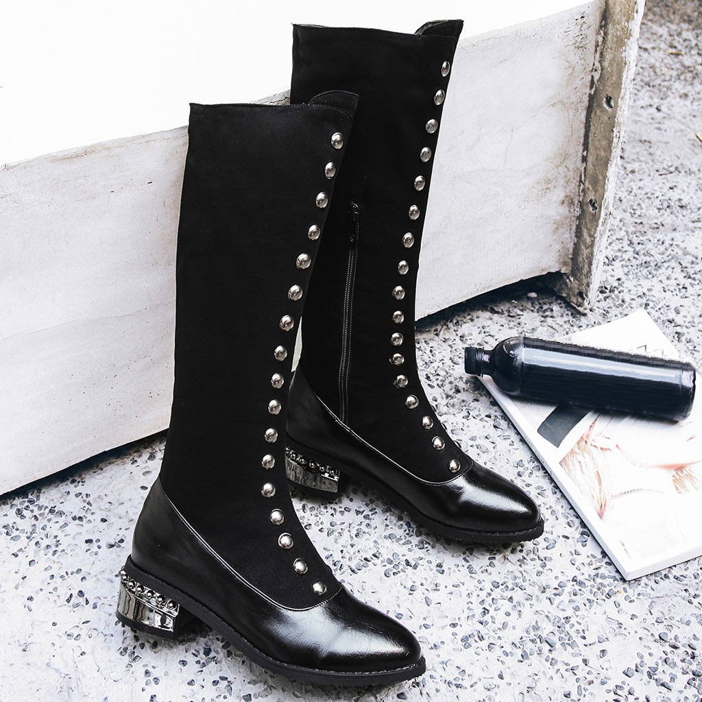 Metal Decoration Thick High Socks Boots