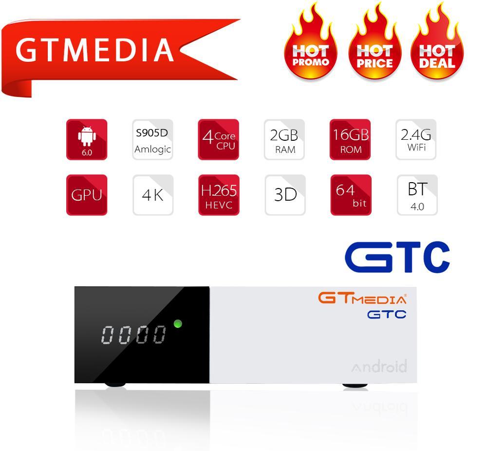GTMEDIA 4K DVB-C DVB-T2 DVB-S2 Iptv Decoder GTC Android 6.0 TV Box DVB T2 DVBT2 Tuner IPTV M3u Netflix French 1 Year Set Top Box