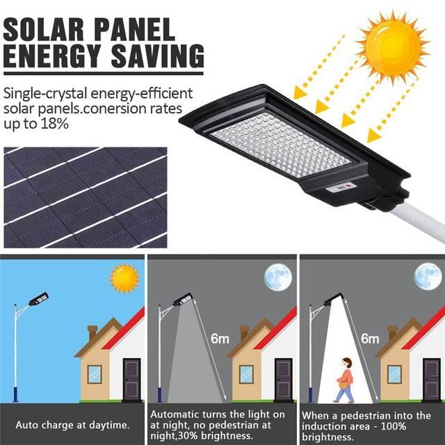 3200W LED Solar Street Light IP65 436/936LED 8500K Light Radar Motion Sensor Wall Timing Lamp Remote Control for Garden Outdoor 2
