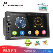 "AMPrime Autoradio 2din Android Audio Multimedia Player GPS Navigatie 7 ""Universele Auto Stereo Wifi Bluetooth FM Mirrorlink Auto"