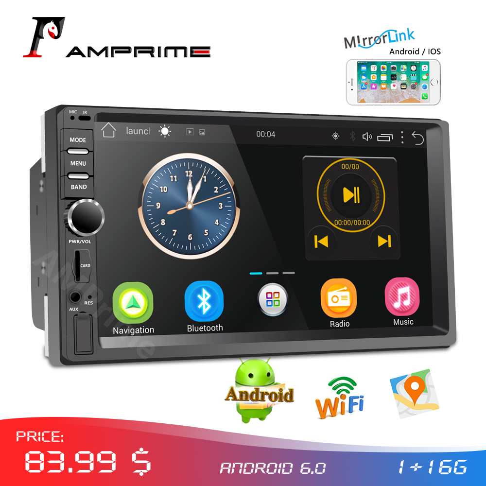 """AMPrime Car Radio 2din Android Audio Multimedia Player GPS Navigation 7"""" Universal Car Stereo Wifi Bluetooth FM Mirrorlink Auto-in Car Multimedia Player from Automobiles & Motorcycles"""