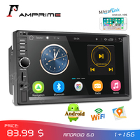 AMPrime Car Radio 2din Android Audio Multimedia Player GPS Navigation 7 Universal Car Stereo Wifi Bluetooth FM Mirrorlink Auto