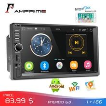 "Amprime rádio do carro 2din android áudio player multimídia navegação gps 7 ""universal estéreo do carro wifi bluetooth fm mirrorlink auto"
