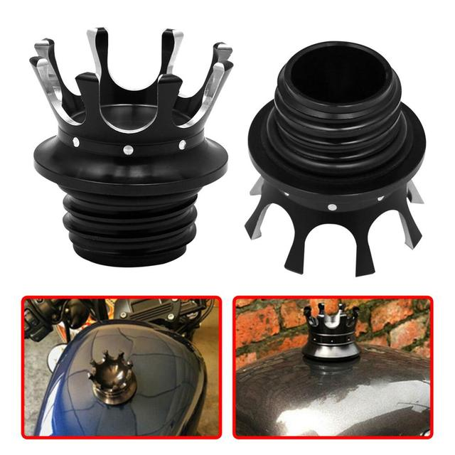 $ 11.61 Motorcycle Gas Cap Crown Style CNC Flush Oil Fuel Tank Cap For Harley Sportster XL 883 1200 Road King Dyna Softail FLST 96-2020