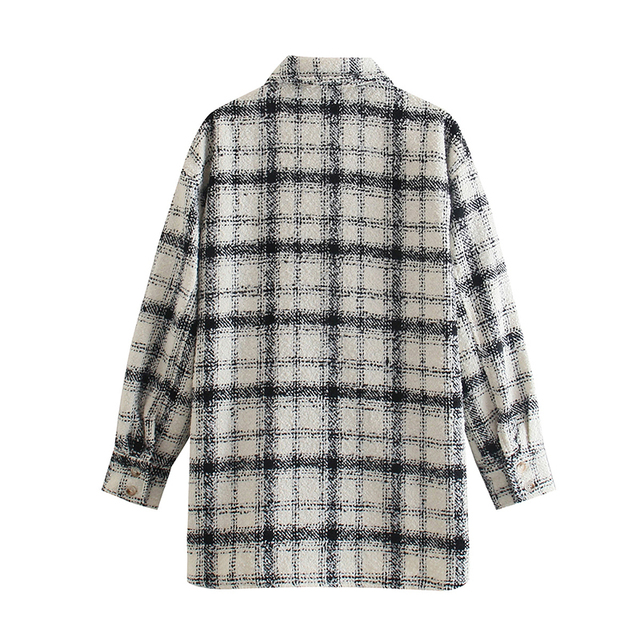 Vintage loose plaid shirt in gray