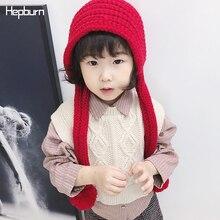 Hepburn Brand Fluffy Pompom Cap Hand Coarse Knitted Children Hats Kids Baby Girl/Boy Winter Soft Warm Wool Cotton Beanie