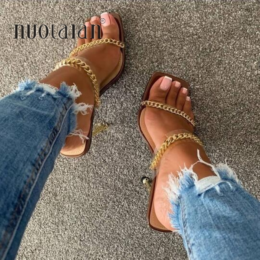 Summer Pumps Fashion Chain Slippers Sandals Shoes Women Thin High Heels Slip On Square Toe Slides Sandal Lady Pump Shoes Mules
