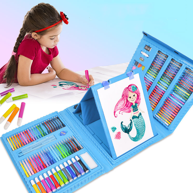 208pcs Children Drawing Pen Toys Watercolor Drawing Art Painting Brush Pen Sets Crayon Oil Pastel Painting Tool For Girls Boys