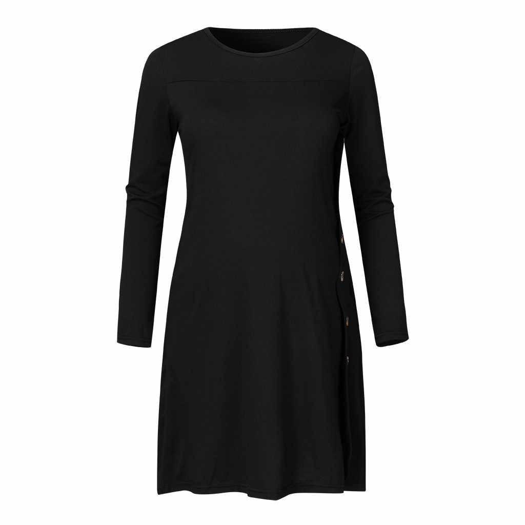 التمريض أفضل النساء الشتاء الخريف زر بلون طويلة الأكمام تي شيرت أنيقة عادية الحوامل ملابس حمل إبازادا 19Ag