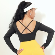 Beauty Back Cross with Chest Pad One-piece Yoga Clothes Quick-Dry Slimming Stretch Running Sports Long-Sleeve Top Women's Fitnes long sleeve top with cross back