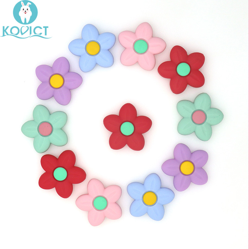 Kovict 4/8 Pcs 42mm Flower Silicone Beads Animal Baby Teether Infant Teething Bead For DIY Necklace Accessories Toy