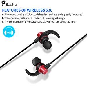 Image 3 - PunnkFunnk Bluetooth 5.0 kulaklık kablosuz boyun kulaklıklar manyetik bas Stereo kulaklıklar auriculares fone de ouvido