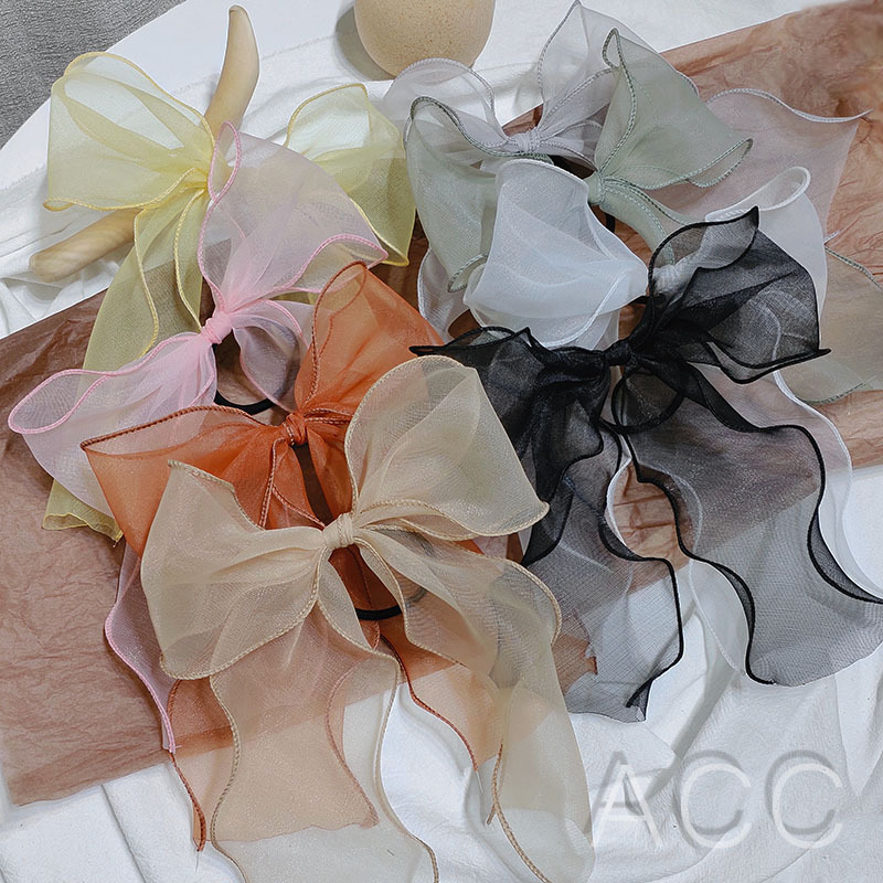 Fashion Barrette Bow Streamer Hair Scrunchies Elastic Hair Band Satin Ribbon Super Fairy Organza Girl Streamer Hair Accessories