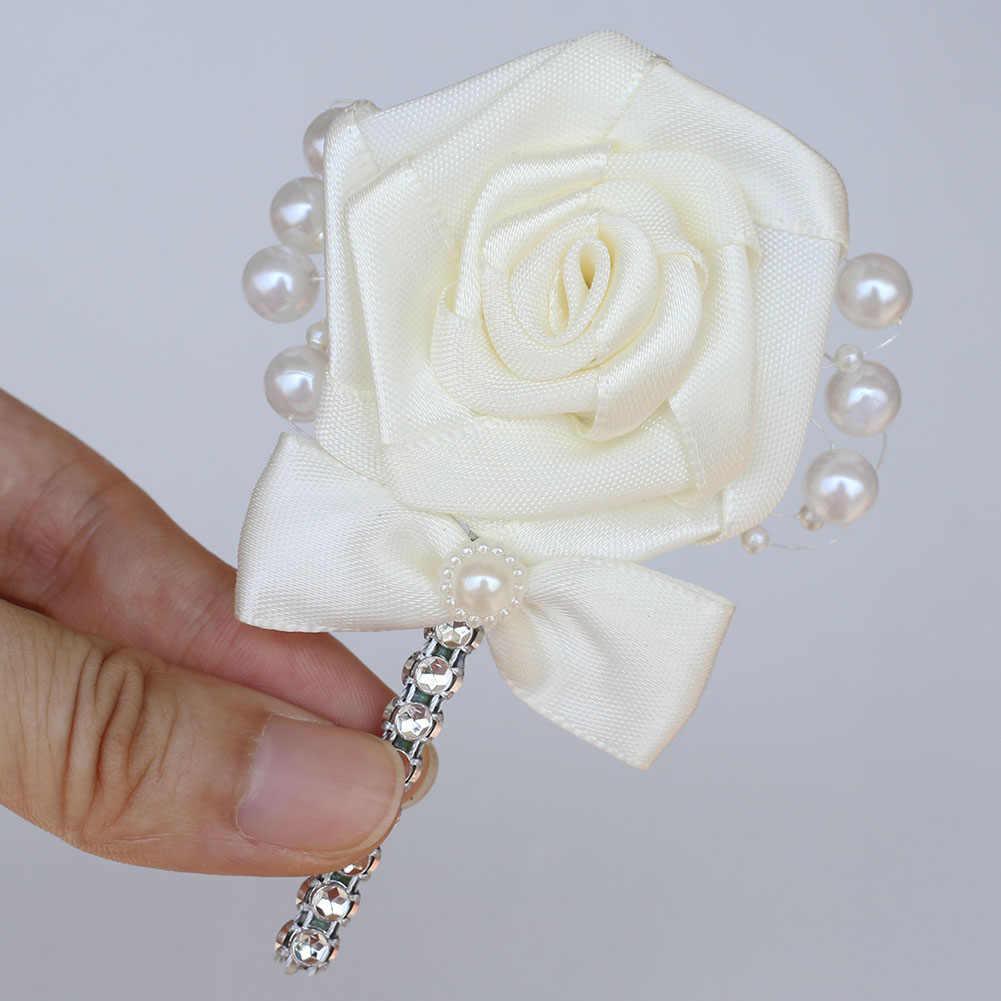Eropa Bunga Pernikahan Pengantin Pria Pengiring Pria Boutonniere Pernikahan Prom Pria Jas Kerah Pin Sutra Pita Upacara Bros Bunga X8715