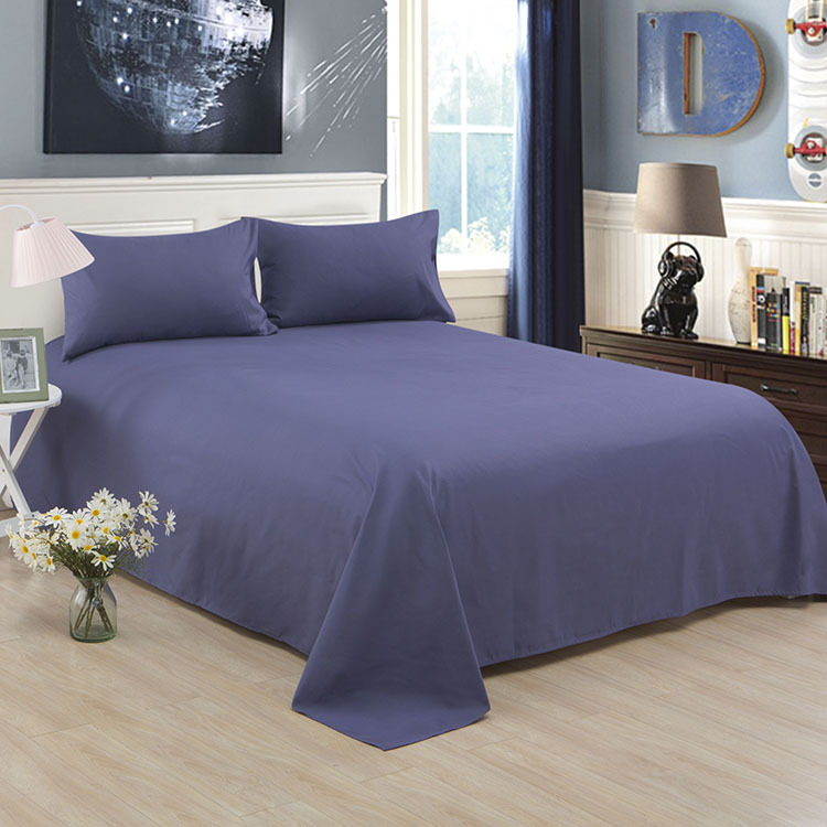 ropa de cama Solid color polyester cotton bed sheet hotel home soft brushed flat sheet queen bed cover not included pillowcase 1