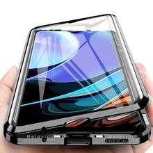 Чехол redmy 9 t 360 ° с полным покрытием, металлическая рамка, Магнитный Флип для xiaomi redmi 9 t 6,53 ', двухстороннее закаленное стекло, защитный чехол