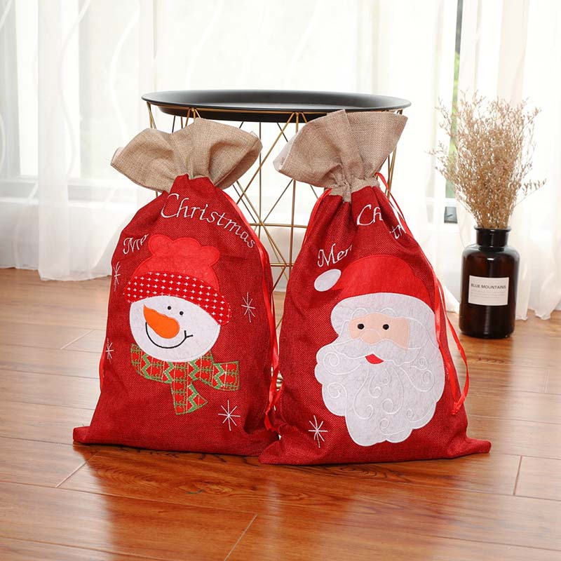 Drawstring Christmas Gift Bags Cotton Santa Claus Snowman Drawstring Bags Makeup Bag Travel Pouch Storage Bags Handbag