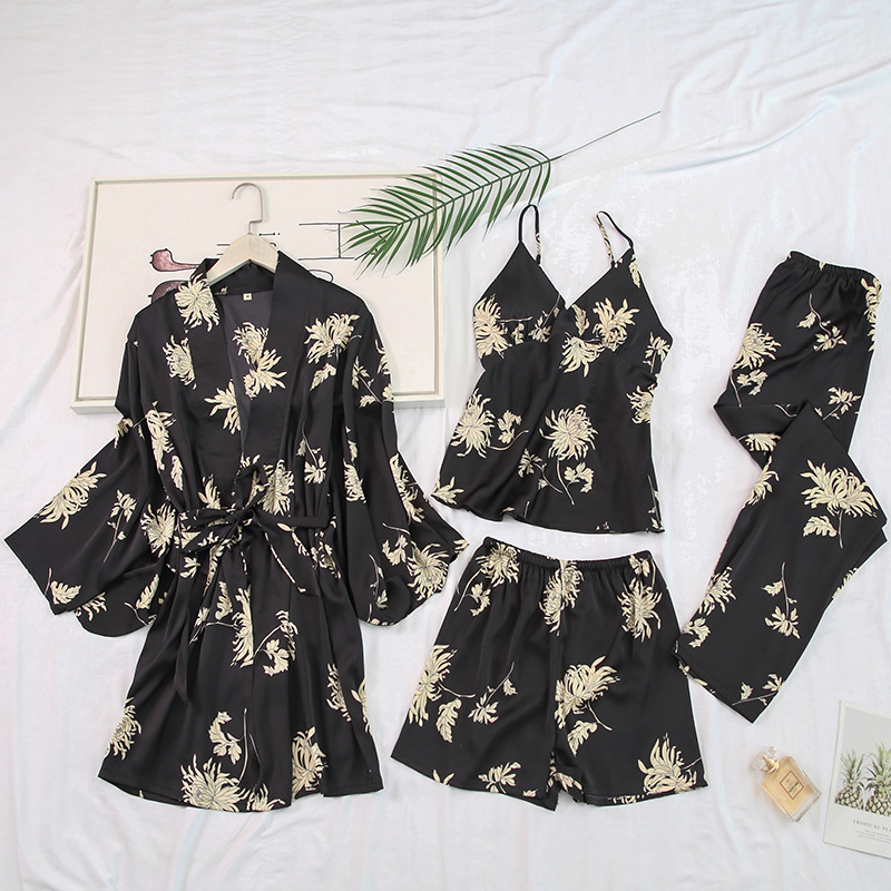 Satin Lady 4PCS Sleepwear Pajamas Set Print Nightwear Strap Top&Pants Silky Kimono Robe Gown Home Clothes Intimate Lingerie