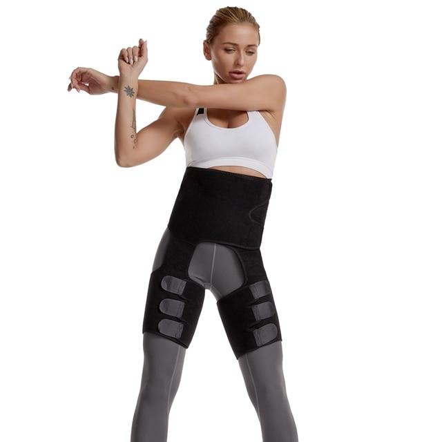 High Waist Neoprene Slim Thigh Trimmer Butt Lifter Leg Shaper Fat Burning Compress Waist Trainer Belt Sweat Shapewear Plus Size 2
