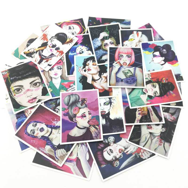 25Pcs Sexy Girls Stickers Scrapbooking Beautiful Fallen girl Stickers Vintage Sticker For Laptop Suitcase Fridge Car Waterproof in Stickers from Home Garden