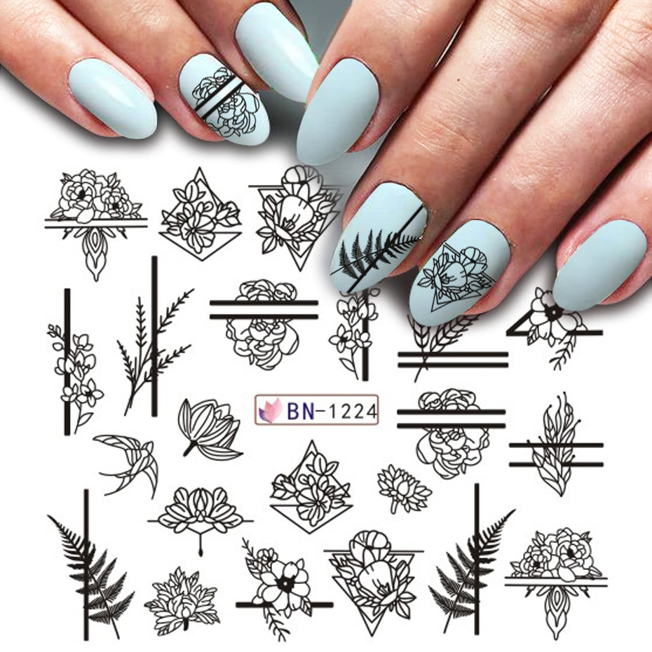 1pcs Black Flower Nail Art Sticker Decal Hollow Watercolor Floral Designs Water Transfer Manicure Slider Decor JIBN1213-1224-1