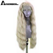 ANOGOL platin sarışın % 613 bakır pembe sentetik dantel ön peruk bebek saç ile uzun su dalgası yüksek sıcaklık Futura elyaf peruk