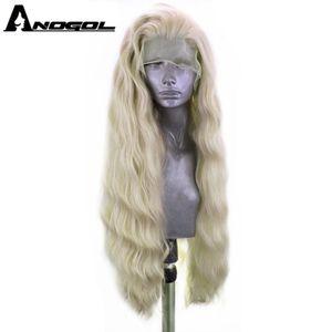 Image 1 - ANOGOL platine Blonde 613 cuivre rose synthétique dentelle avant perruque avec bébé cheveux longue vague deau haute température Futura Fiber perruque