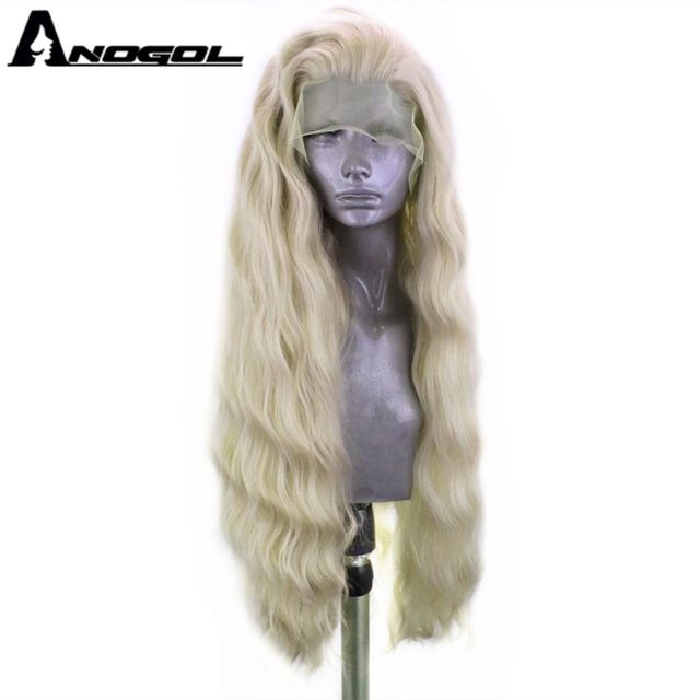 ANOGOL platine Blonde 613 cuivre rose synthétique dentelle avant perruque avec bébé cheveux longue vague deau haute température Futura Fiber perruque