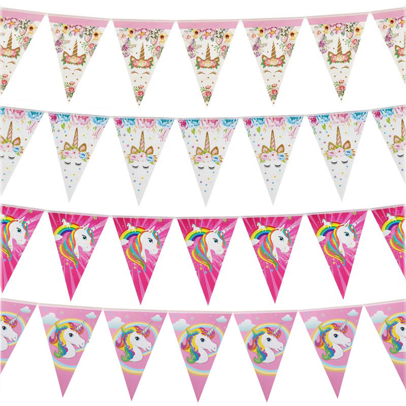 1set Rainbow Unicorn Banners Unicorn Party Hanging Flags Kids Birthday Party Decorations Bunting Garland Baby Shower Supplies-in Banners, Streamers & Confetti from Home & Garden