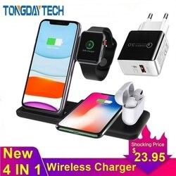 Tongdaytech 15W szybka bezprzewodowa ładowarka qi dla Iphone XS 8 11 Pro Max bezprzewodowa stacja ładująca dla apple airpods zegarek 5 4 3 2 1 w Ładowarki do telefonów komórkowych od Telefony komórkowe i telekomunikacja na