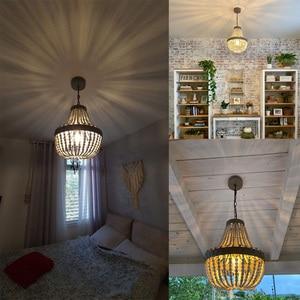Image 5 - מדינה אמריקנית סגנון רטרו תליית סיד לבן עץ חרוזים תליון מנורת LED אורות E27 AC 110V 220V עבור חדר שינה סלון